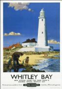 Whitley Bay, Tyne & Wear, St Marys Lighthouse. BR Vintage Travel Poster by F Donald Blake. 1951